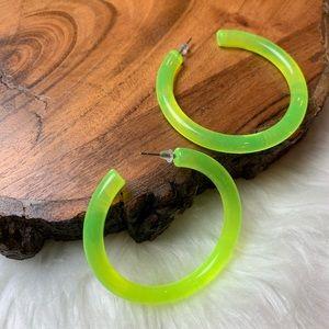Neon Yellow Acrylic Hoops Earrings